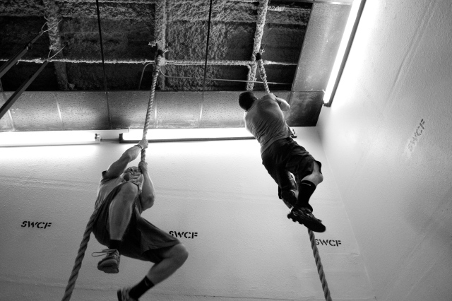 Legless rope climbs.